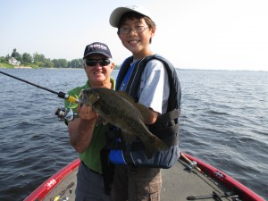 James with his first smallmouth