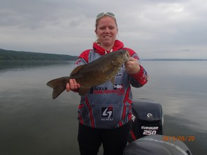 Niki's smallmouth while on free Guide trip . May winner!~ Nice 4lber.