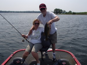 Mike and Carol from MD with a nice smallie. Carol wouldn't hold her catch